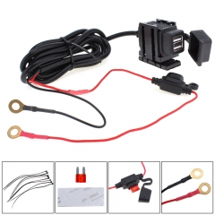 Dual USB Port 12V Waterproof Motorbike Motorcycle Handlebar Charger Adapter Power Supply Socket