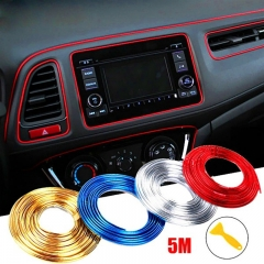 5 M Adhesive Strips for Car Interior Decoration Molding Door Line Air Vent Panel Direction sliver 5m