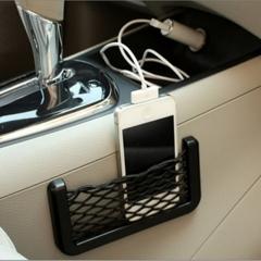 Car Seat Back Storage Mesh Net Bag Strong Magic Tape 20x8cm black as picture