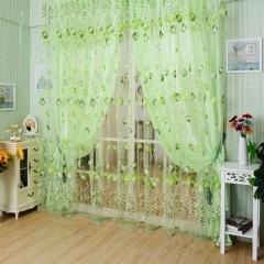 Generic Chiffon Floral Printed Curtain 100 X 200CM green 100*200cm