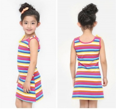 Summer Dress for Girl 3 6 8 10  years Teen Stripe Sleeveless Slim Sleeveless Dress Kids Clothing 001 6T