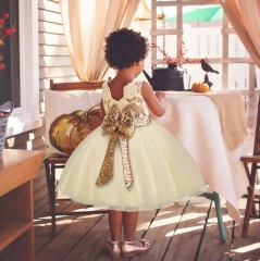 Party Dress for Little Girl Gown Tutu Kids Sequins Bow Wedding Princess Dresses 2-6Y beige 3t