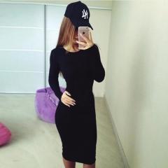 Women Black  Dress Fashion  O-Neck Elastic Dress Long Sleeve Party Bodycon Dress s black