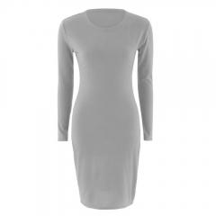 Women Solid  Dress Fashion  O-Neck Elastic Dress Long Sleeve Party Bodycon Dress s gray