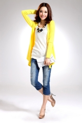 Loose women  Shirt Outwear  Long Sleeve Cotton Women Tops Shawl Cardigan Top yellow one size