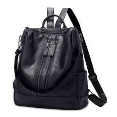 Women Backpack Fashion Solid School Bags For Girls Casual Women Black Backpacks PU Leather black 36cm*33cm*38cm