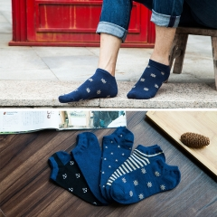 5 pairs /lot  Mens No Show Low Cut Casual Dark Blue Color Cotton Non-Slide Socks(5Pack) dark blue 5 pairs / lot free size