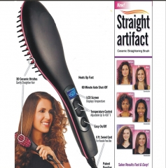 Handheld Fast Hair Straightener Comb  Electric Brush Professional LCD Display black 27.5x7x5cm