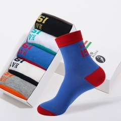 5Pairs of Casual Mens Socks Chromatic Stripe Cotton Comfortable Men's Socks mix color 2 5 pairs / lot free size