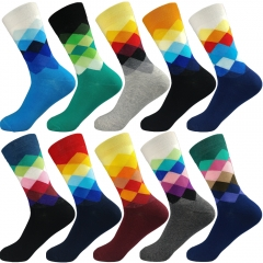 Cotton Casual  Men's Socks Colorful Clothes Socks High Quality (3Pairs / Lot) mix color 1 3pairs / lot free size