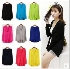women Loose women  Shirt Outwear  Long Sleeve Cotton Women Tops Shawl Cardigan Top as picture one size