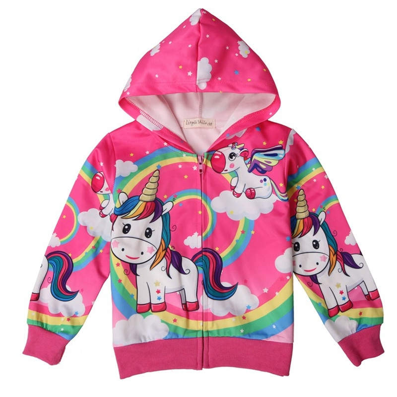 58e9722bd Kids Spring Autumn Unicorn Jacket Coat for Girls Cartoon hoodies ...