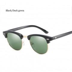 2018 Fashion Vintage Sunglasses Women Men Sun Glasses Ladies Retro Eyewear Night Shades Alloy Frame Black/Dark green one size