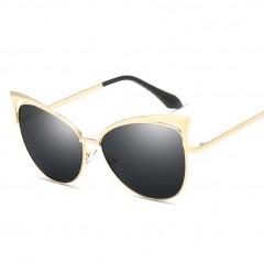 2018 New Fashion Cat Eye Mirror Sunglasses Women Ladies Meta Frames Sun Glasses Shades Eyewear UV400 Gold/Gray one size