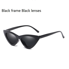 Newest Cat Eye Vintage Sunglasses Women Ladies Small Sun Glasses Retro Frames Driving Shades Eyewear Black frame Black lenses one size
