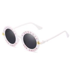 Newest Retro Round Sunglasses Women Men Driving Little Bee Sun Glasses Ladies Vintage Shades Eyewear white-gray one size
