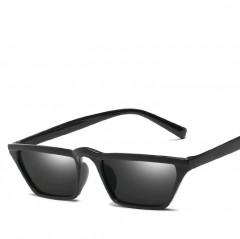 New Vintage Cat Eye Sunglasses Women Men Retro Driving Small Frame Sun Glasses Ladies Shades Eyewear C2 (Bright Black Frame) one size