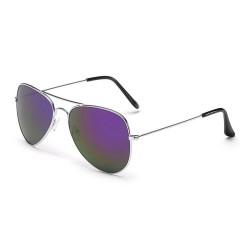 Newest Pilot Fashion Mirror Sunglasses Men Women Ladies Aviator Driving Sun Glasses Shades Eyewear Silver-Purple one size