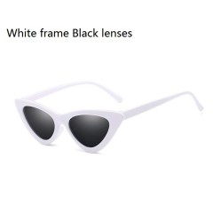 Newest Cat Eye Vintage Sunglasses Women Ladies Small Sun Glasses Retro Frames Driving Shades Eyewear White frame Black lenses one size