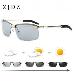 Newest Photochromic Polarized Sunglasses Men Driving Cycling Black Sun Glasses Shades Eyewear UV400 Silver frame Chameleon lenses one size