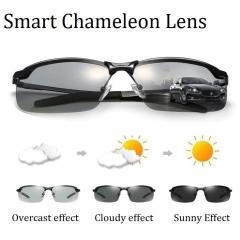 Photochromic Polarized Men's Sunglasses Driving Glasses Men's Biker Sunglasses Men Fashion Glasses Black frame Chameleon lenses one size