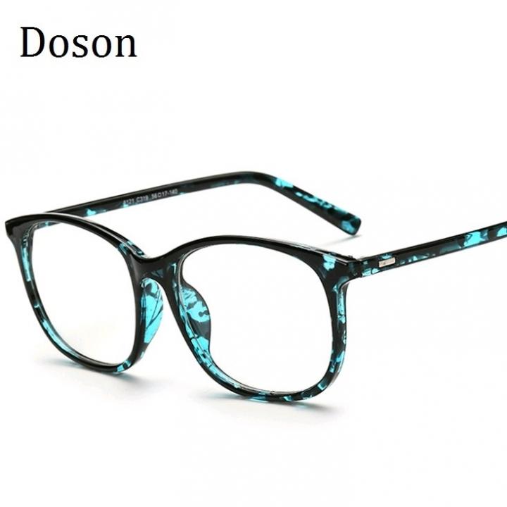 4d745d38ca3a Korean Eyeglasses Frames Clear Lens Fake Optical Glasses Leopard Vintage  Eyewear Glasses Men Women Blue Flower