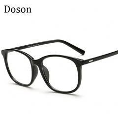 Korean Eyeglasses Frames Clear Lens Fake Optical Glasses Leopard Vintage Eyewear Glasses Men Women Bright Black one size