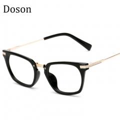 Newest Metal Vintage Glasses Men Women Ladies Optical Eyeglasses Frames Clear lens Retro Eyewear Bright black frame one size