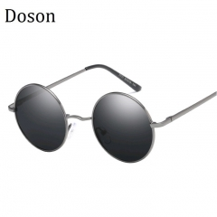 Vintage Round Polarized Sunglasses Men Women Retro Mirror Sun Glasses Driving Shades Eyewear UV400 Gun frame Gray lens one size