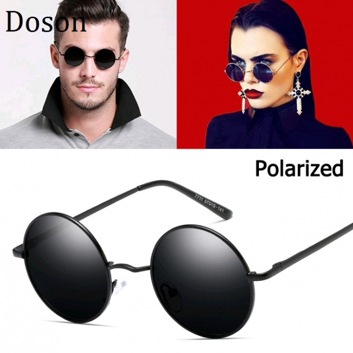 d241f163ad6a Vintage Round Polarized Sunglasses Men Women Retro Mirror Sun Glasses  Driving Shades Eyewear UV400 Black frame