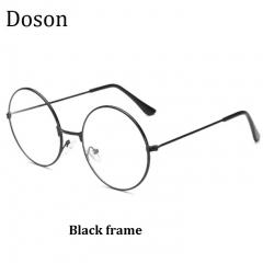Vintage Round Glasses Women Ladies Clear Lens Optical Eyeglasses Frames Metal Retro Eyewear Goggles Black frame one size