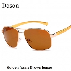 2018 New Polarized Aviator Men Sunglasses Men Women Driving Fashion Sun Glasses Eyewear Metal Frames Golden frame Brown lenses one size
