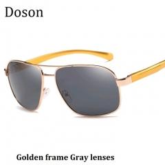 2018 New Polarized Aviator Men Sunglasses Men Women Driving Fashion Sun Glasses Eyewear Metal Frames Golden frame Gray lenses one size