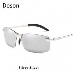 Newest Fashion Polarized Sunglasses Men Driving HD Night Vision Rimless Sun Glasses Eyewear Frames Silver-Silver one size