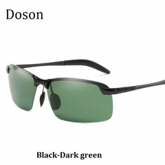 Newest Fashion Polarized Sunglasses Men Driving HD Night Vision Rimless Sun Glasses Eyewear Frames Black-Dark green one size