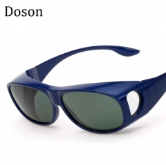Newest Sport Polarized Sunglasses Men Women Driving Cover For Myopia Sun Glasses Night Vision Shades Blue frame Green lens one size