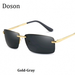Newest Polarized Rimless Sunglasses Men Driving Sun Glasses Men HD Night Vision Eyewear Metal Frames gold-gray one size