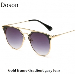 Newest Cat Eye Mirror Sunglasses Women Ladies Driving Sun Glasses Female Shades Metal Eyewear UV400 Gold frame Gradient gray lens one size