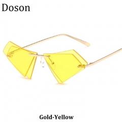 Newest Fashion Rimless Alloy Sunglasses Women Men Driving Sun Glasses Ladies Shades Eyewear UV400 Gold-Yellow one size