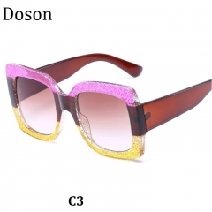 Newest Oversized Crystal Vintage Women Sunglasses Ladies Retro Driving Sun Glasses Big Frame Shades C3 one size