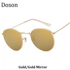 New Round Vintage Women Sunglasses Ladies Men Metal Frame Driving Retro Sun Glasses Shades Eyewear Gold/Gold Mirror one size