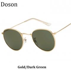 New Round Vintage Women Sunglasses Ladies Men Metal Frame Driving Retro Sun Glasses Shades Eyewear Gold/Dark Green one size
