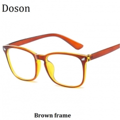 Newest Square Fashion Vintage Glasses Men Women Ladies Optical Eyeglasses Frames Retro Eyewear Brown frame one size