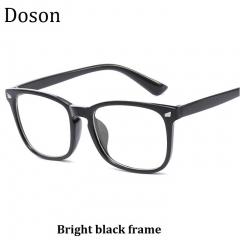 Newest Square Fashion Vintage Glasses Men Women Ladies Optical Eyeglasses Frames Retro Eyewear Bright black frame one size