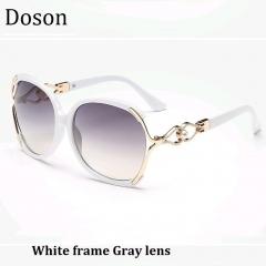 Fashion Vintage Oversized Sunglasses Women Ladies Driving Retro Sun Glasses Big Frame Shades Eyewear White frame Gray lens one size