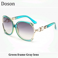 Fashion Vintage Oversized Sunglasses Women Ladies Driving Retro Sun Glasses Big Frame Shades Eyewear Green frame Gray lens one size