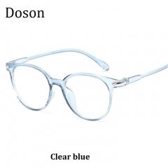 Newest Round Retro Glasses Men Women Clear Lenses Optical Eyeglasses Frames Vintage Eyewear Ladies Clear blue one size