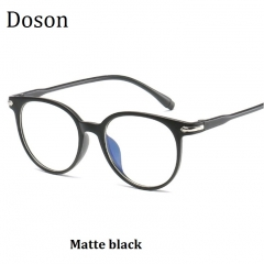 Newest Round Retro Glasses Men Women Clear Lenses Optical Eyeglasses Frames Vintage Eyewear Ladies Matte black one size
