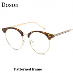 New Fashion Vintage Round Glasses Men Women Ladies Clear Lens Optical Eyeglasses Frame Retro Eyewear Patterned frame one size