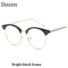 New Fashion Vintage Round Glasses Men Women Ladies Clear Lens Optical Eyeglasses Frame Retro Eyewear Bright black frame one size